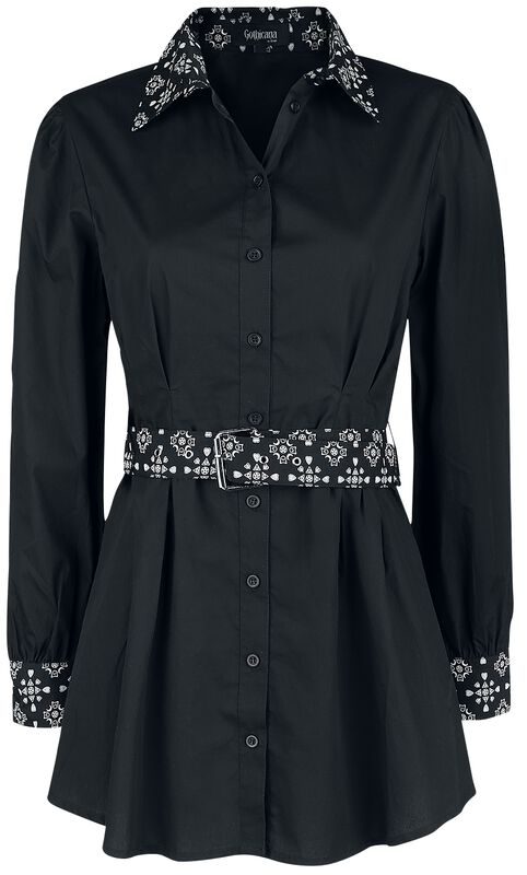 Black Long-Sleeve Shirt with Belt and Patterned Elements