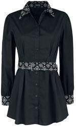 schwarzes Langarmhemd mit Gürtel und gemusterten Elementen