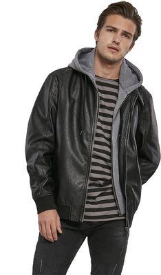 Fleece Hooded Fake Leather Jacket