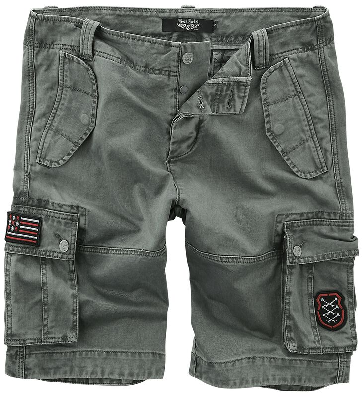 Grey Cargo Shorts with Patches