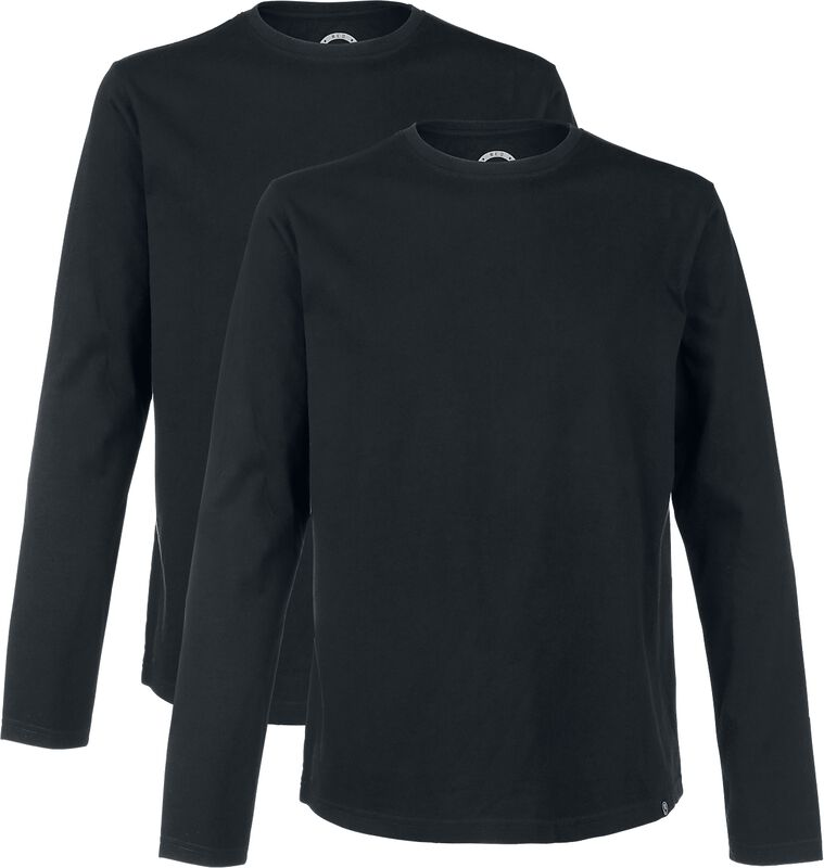 Double Pack Long-Sleeve Tops In Black with Crew Neck