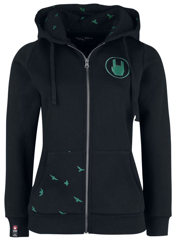 Black Hooded Jacket with Coloured Print and Embroidery