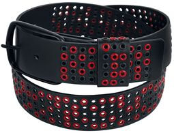 Black Belt with Black and Red Eyelets