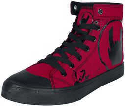 Red Sneakers with Rockhand Print