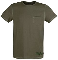 Olive T-shirt with Chest Pocket and Crew Neck