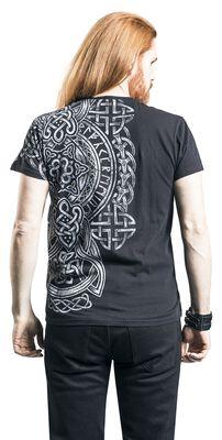 schwarzes T-Shirt mit Print und V-Ausschnitt