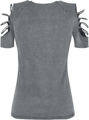 Grey t-shirt with wash and cut-outs
