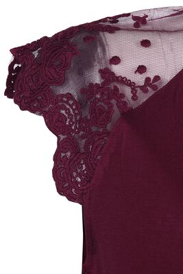 Burgundy Red T-Shirt with Lace Shoulders