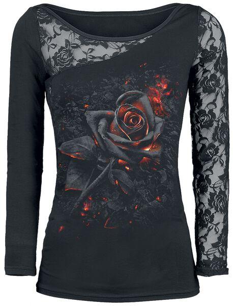 Burnt lunghe Rose 3 Maglia a recensioni maniche WWxArn