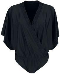 Schwarzer Body in Wickeloptik und mit Kimono-Ärmeln