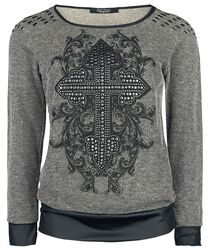 Rock Rebel Sweatshirt with Print and Studs