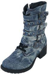 Rock Rebel Denim-Look Boots with Studs