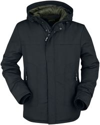 Between-seasons jacket with coloured hood lining
