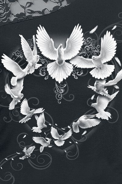 maniche Maglia a Doves Heart lunghe UPHBBw