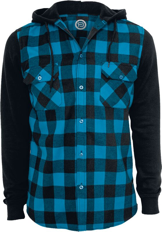 Hooded Checked Flannel Sweat Sleeve Shirt