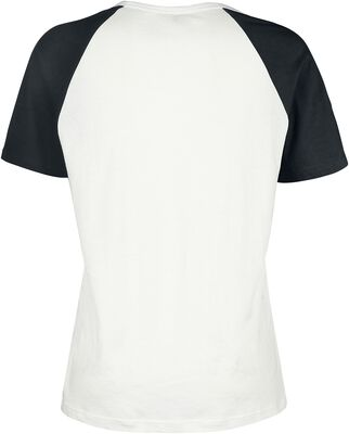 White T-shirt with Black Sleeves and Cut-Outs