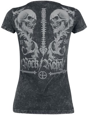 schwarzes T-Shirt mit Rundhalsausschnitt und Print