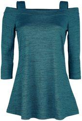 Blau/schwarz meliertes schulterfreies Langarmshirt mit Trägern