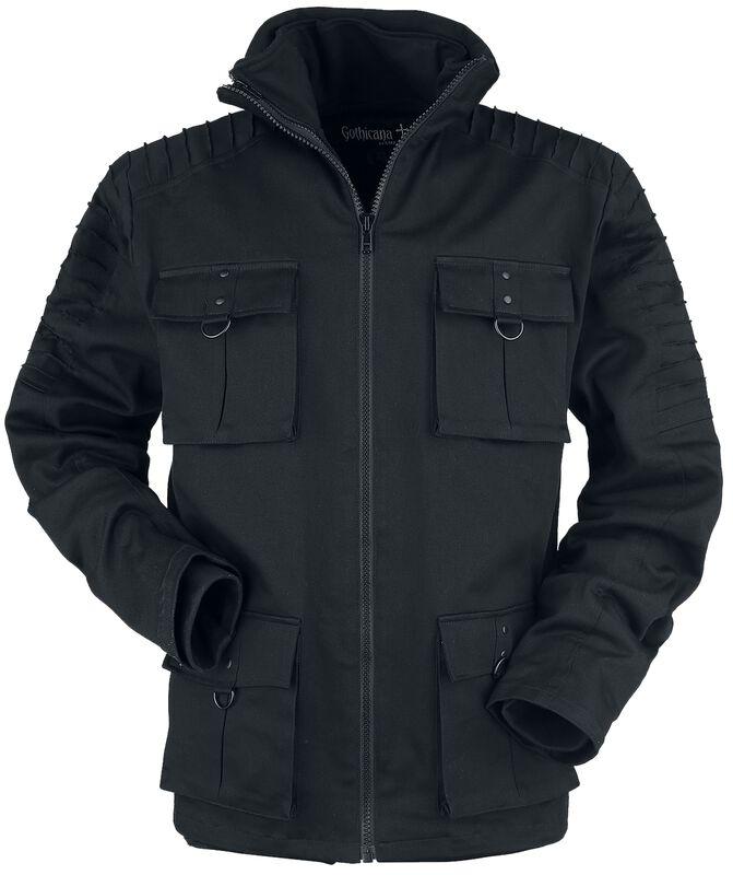 Winter jacket with flap pockets decorative seams