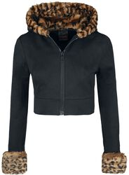Jacket With Leopard-Print Fur Collar