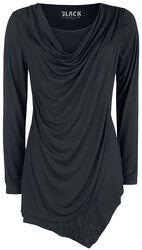Black Long-Sleeve Shirt with Waterfall Neckline