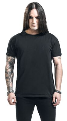 Black T-shirt with Embroidery on the Chest