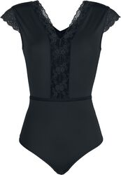 Black Body with V-Neckline and Lace