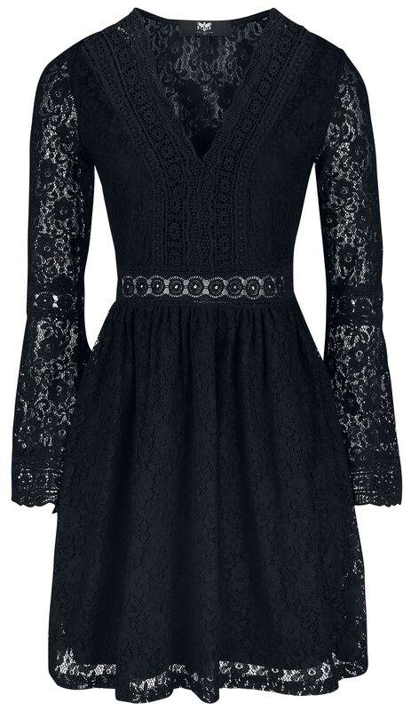 Black Lace Dress with Trumpet Sleeves
