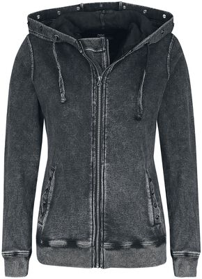 Dark Grey Hooded Jacket with Wash and Studs