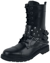 Black Lace-Up Boots with Decorative Buckles, Chain and Studs