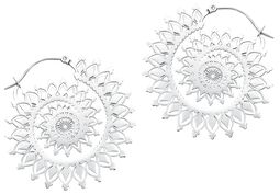 Silver Floral Nautilus Hoops