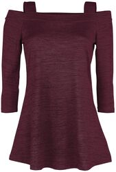 Red long-sleeved shirt with flared hemline