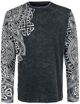 Schwarzes Langarmshirt mit Waschung und Print
