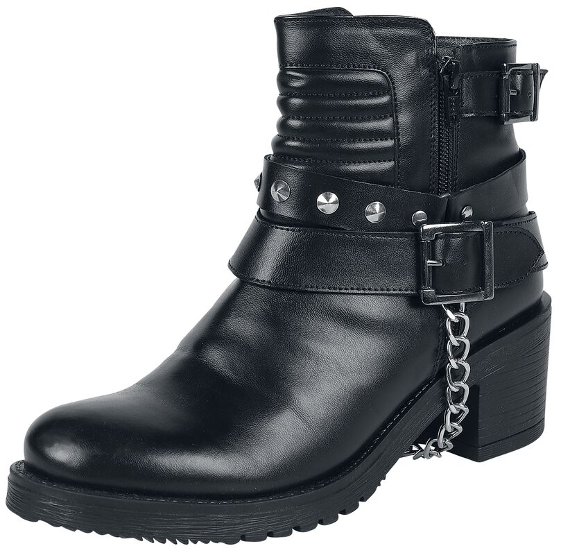 Black Boost with Quilting on the Shaft, Buckles and Decorative Chain