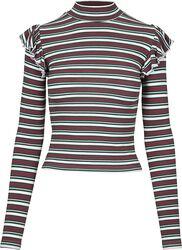 Ladies Rib Striped Volant Turtleneck