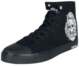 Black Sneakers with Side Print and Embroidery on Reverse
