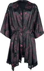 Black dressing gown with all-over print and lace details