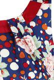 Navy Dot Floral Sleeveless Swing Dress