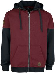 Hoodie in black and red with patches