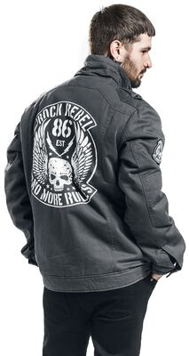Grey Jacket with Skull Print and Patches