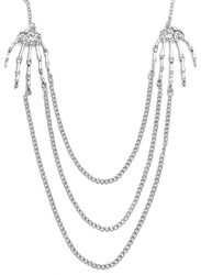Silver Necklace With Skeleton Hands and Chains