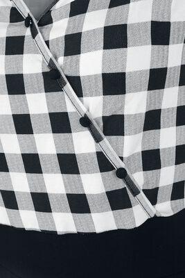 Schwarz/weiß kariertes Kleid im 50ies Look mit kariertem Oberteil