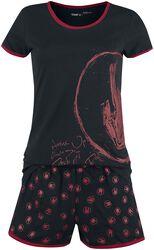 Short Black Pyjamas with Rockhand Print