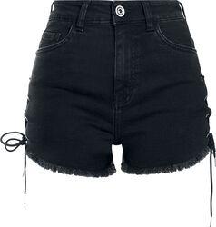 Ladies Highwaist Denim Lace Up Short