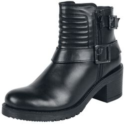 Black Boots with Buckles and Biker Stitching