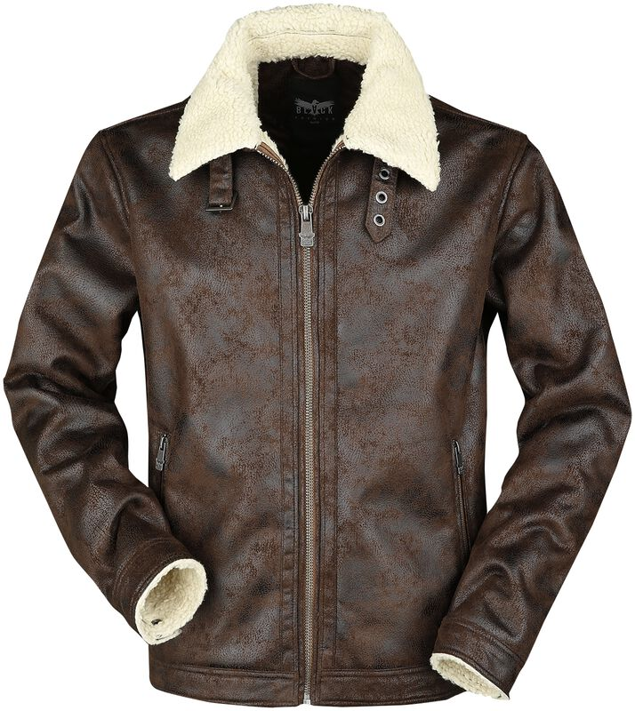 Brown Faux Leather Aviation Jacket with Faux Fur Collar