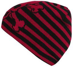 Black-Red Striped Skull Hat
