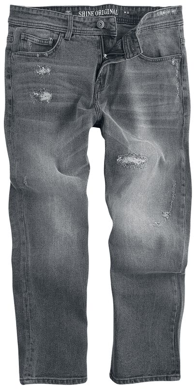 Cropped Loose Fit Jeans Metal Grey