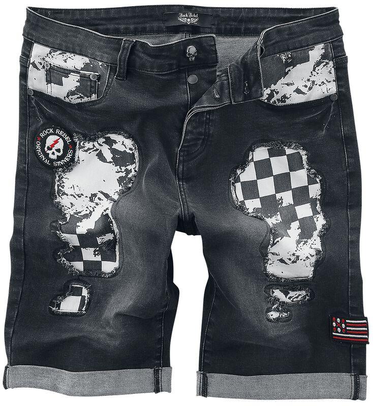 Graue Shorts mit Cut-Outs und kariertem Muster