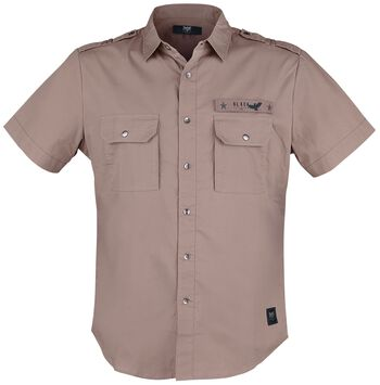 Brown Army Style Short Sleeve Shirt